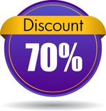 70 Discount web icon. Vector illustration isolated on white background - 70 Discount web button icon royalty free illustration
