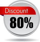 80 Discount web button. Vector illustration isolated on white background - 80 Discount web button icon royalty free illustration
