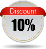 10 Discount web icon. Vector illustration isolated on white background - 10 Discount web button icon Royalty Free Stock Image