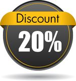 20 Discount web icon. Vector illustration isolated on white background - 20 Discount web button icon stock illustration