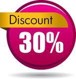 30 Discount web icon. Vector illustration isolated on white background - 30 Discount web button icon Stock Photos