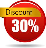 30 Discount web icon. Vector illustration isolated on white background - 30 Discount web button icon Stock Image
