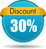30 Discount web icon. Vector illustration isolated on white background - 30 Discount web button icon Stock Photography