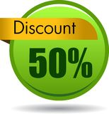 50 Discount web icon. Vector illustration isolated on white background - 50 Discount web button icon stock illustration