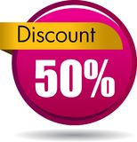 50 Discount web icon. Vector illustration isolated on white background - 50 Discount web button icon Stock Photography