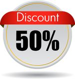 50 Discount web icon. Vector illustration isolated on white background - 50 Discount web button icon Royalty Free Stock Image