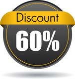 60 Discount web icon. Vector illustration isolated on white background - 60 Discount web button icon stock illustration