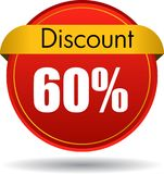 60 Discount web icon. Vector illustration isolated on white background - 60 Discount web button icon Stock Photo