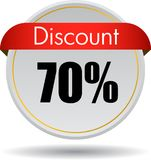70 Discount web icon. Vector illustration isolated on white background - 70 Discount web button icon stock illustration