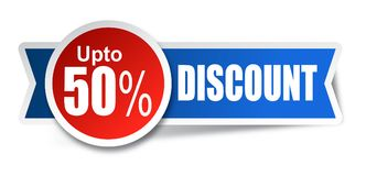 Discount stickers. Vector illustration isolated on white background -fifty percent sticker blue red Stock Image