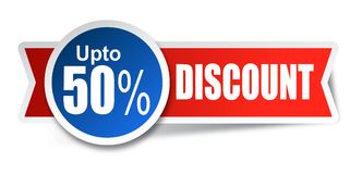 Discount stickers. Vector illustration isolated on white background -fifty percent sticker red blue Royalty Free Stock Photos
