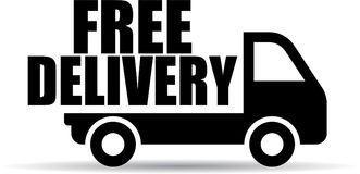 Free delivery truck icon. Vector illustration on isolated white background - free delivery truck icon stock illustration