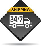 Free shipping web button. Vector illustration on isolated white background - Free shipping web button Royalty Free Stock Photography