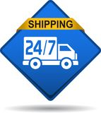 Free shipping web button. Vector illustration on isolated white background - Free shipping web button Stock Photography