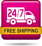 Free shipping web button. Vector illustration on isolated white background - Free shipping web button Royalty Free Stock Image