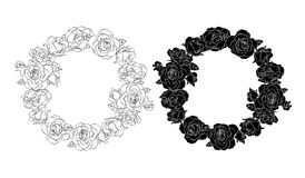 Circle of roses. Silhouette and outline of black. stock illustration