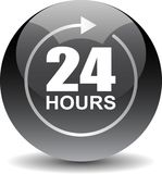 24 hours support web button black. Vector illustration isolated on white background - 24 hours support web button black Stock Image