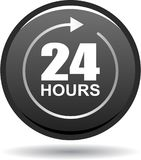 24 hours support web button black. Vector illustration isolated on white background - 24 hours support web button black Royalty Free Stock Images