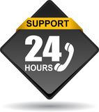 24 hours support web button black. Vector illustration isolated on white background - 24 hours support web button black Royalty Free Stock Image