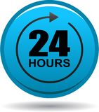 24 hours support web button blue. Vector illustration isolated on white background - 24 hours support web button blue Stock Photos