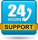 24 hours support web button blue. Vector illustration isolated on white background - 24 hours support web button blue Royalty Free Stock Photos