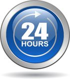 24 hours support web button blue. Vector illustration isolated on white background - 24 hours support web button blue Stock Image