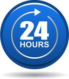 24 hours support web button blue. Vector illustration isolated on white background - 24 hours support web button blue Stock Photography