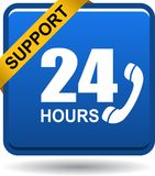 24 hours support web button blue. Vector illustration isolated on white background - 24 hours support web button blue Royalty Free Stock Photo