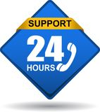 24 hours support web button blue. Vector illustration isolated on white background - 24 hours support web button blue Stock Images