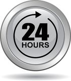 24 hours support web button gray. Vector illustration isolated on white background - 24 hours support web button gray Royalty Free Stock Photo