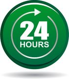 24 hours support web button green. Vector illustration isolated on white background - 24 hours support web button green Stock Images
