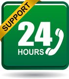 24 hours support web button green. Vector illustration isolated on white background - 24 hours support web button green Royalty Free Stock Image