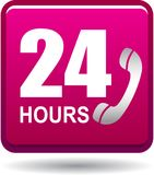 24 hours support web button pink. Vector illustration isolated on white background - 24 hours support web button pink Royalty Free Stock Photography