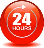 24 hours support web button red. Vector illustration isolated on white background - 24 hours support web button red Royalty Free Stock Photo