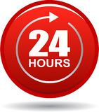 24 hours support web button red. Vector illustration isolated on white background - 24 hours support web button red Stock Photos