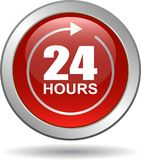 24 hours support web button red. Vector illustration isolated on white background - 24 hours support web button red Royalty Free Stock Photography