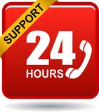 24 hours support web button red. Vector illustration isolated on white background - 24 hours support web button red Stock Photography