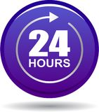 24 hours support web button violet. Vector illustration isolated on white background - 24 hours support web button violet Royalty Free Stock Photography