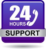 24 hours support web button violet. Vector illustration isolated on white background - 24 hours support web button violet Royalty Free Stock Photos