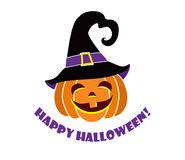 My first Halloween. Funny pumpkin head in a black hat. Royalty Free Stock Photo
