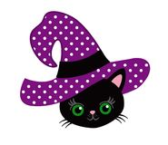 My first Halloween. Lovely kitten in the hat of a witch. Royalty Free Stock Image