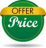 Offer price web button icon. Vector illustration isolated on white background - offer price web button icon Royalty Free Stock Photo