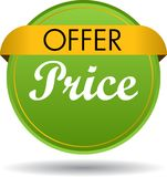 Offer price web button icon. Vector illustration isolated on white background - offer price web button icon Royalty Free Stock Image