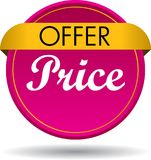 Offer price web button icon. Vector illustration isolated on white background - offer price web button icon Stock Photos