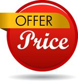 Offer price web button icon. Vector illustration isolated on white background - offer price web button icon Stock Photo