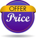 Offer price web button icon. Vector illustration isolated on white background - offer price web button icon Stock Image