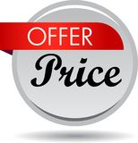 Offer price web button icon. Vector illustration isolated on white background - offer price web button icon Stock Images