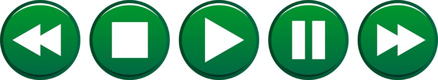 Play stop pause buttons green. Vector illustration on isolated white background - play stop pause buttons green Stock Photo