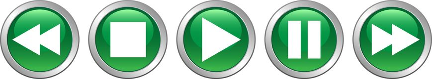 Play stop pause buttons green. Vector illustration on isolated white background - play stop pause buttons green Royalty Free Stock Photos