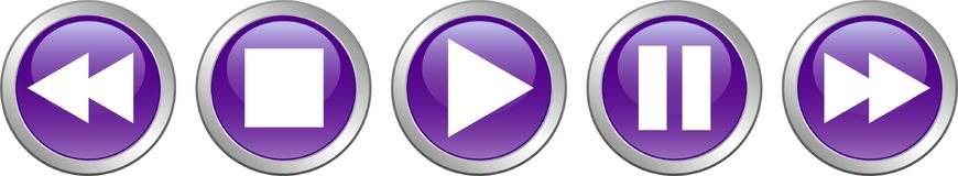 Play stop pause buttons violet. Vector illustration on isolated white background - play stop pause buttons violet Stock Photography